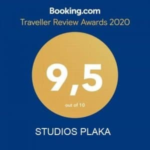 This is the badge Studios Plaka received from Booking