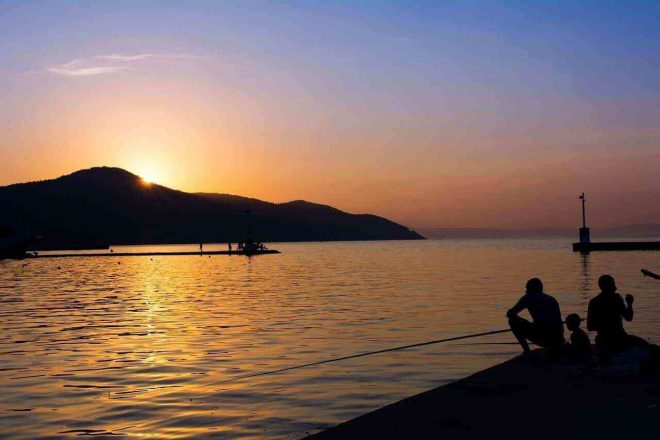 This is a sunset photo from the port of Thassos, Limenas