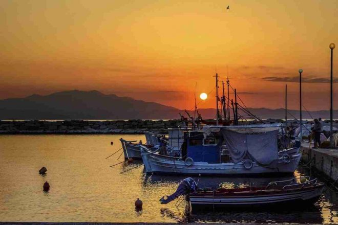 This is a sunset view from the fishing port of Skala Kallirachi, 2 kilometres from Studios Plaka.