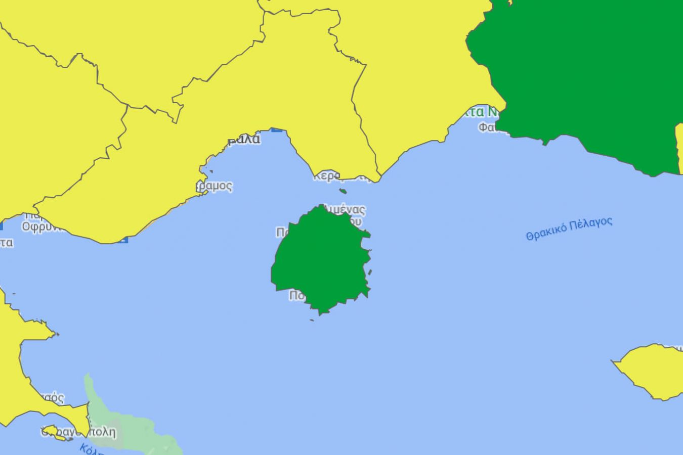 The official map that shows that Thassos is green (covid-safe): Covid Updates Thassos 2021